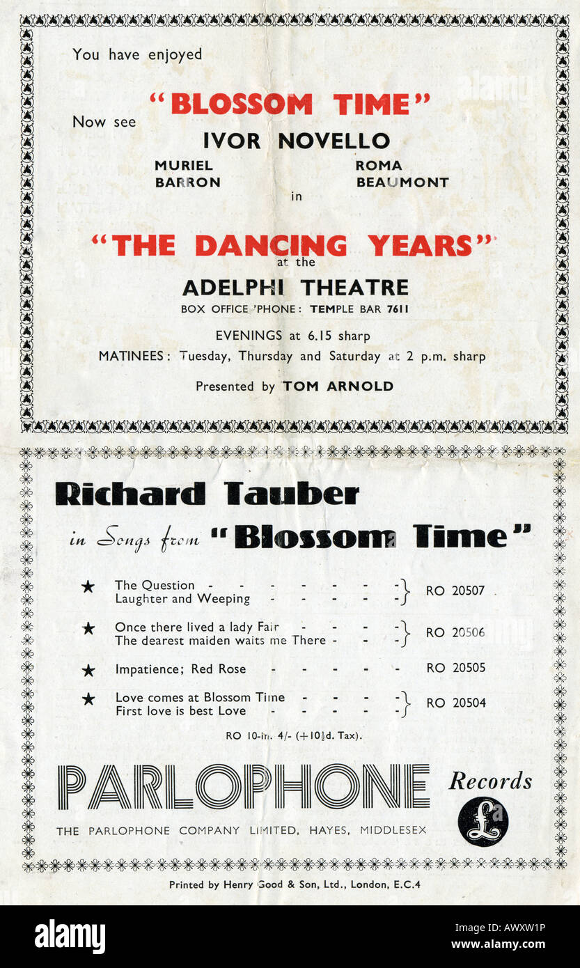 1942 Lyric Theatre programme for Richard Tauber in Blossom Time EDITORIAL USE ONLY - Stock Image