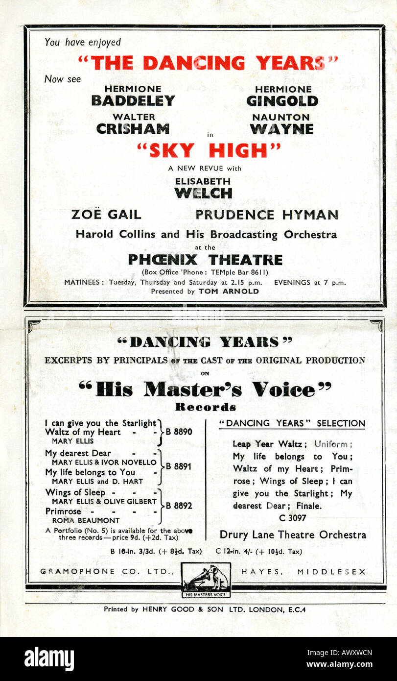 1942 Adelphi Theatre programme for Ivor Novello's The Dancing Years EDITORIAL USE ONLY - Stock Image
