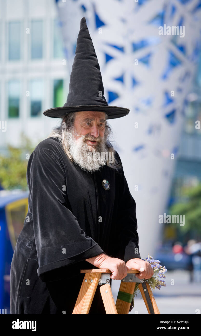 The Wizard of Christchurch has been an icon of the city for more than 30 years, captured here front of the chalice. - Stock Image