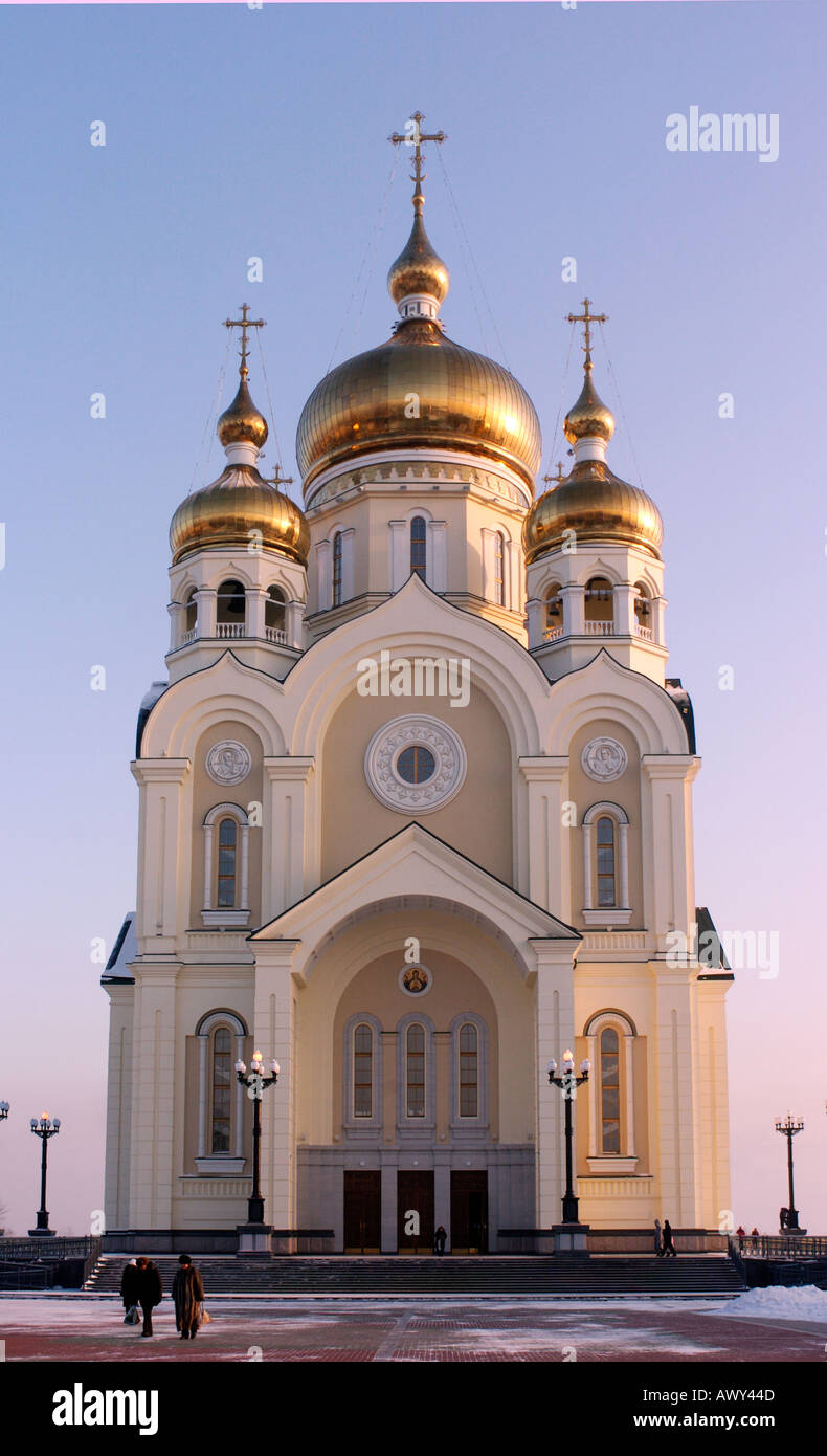 Recently built St Transfiguration Cathedral in Khabarovsk Russia 2005 - Stock Image