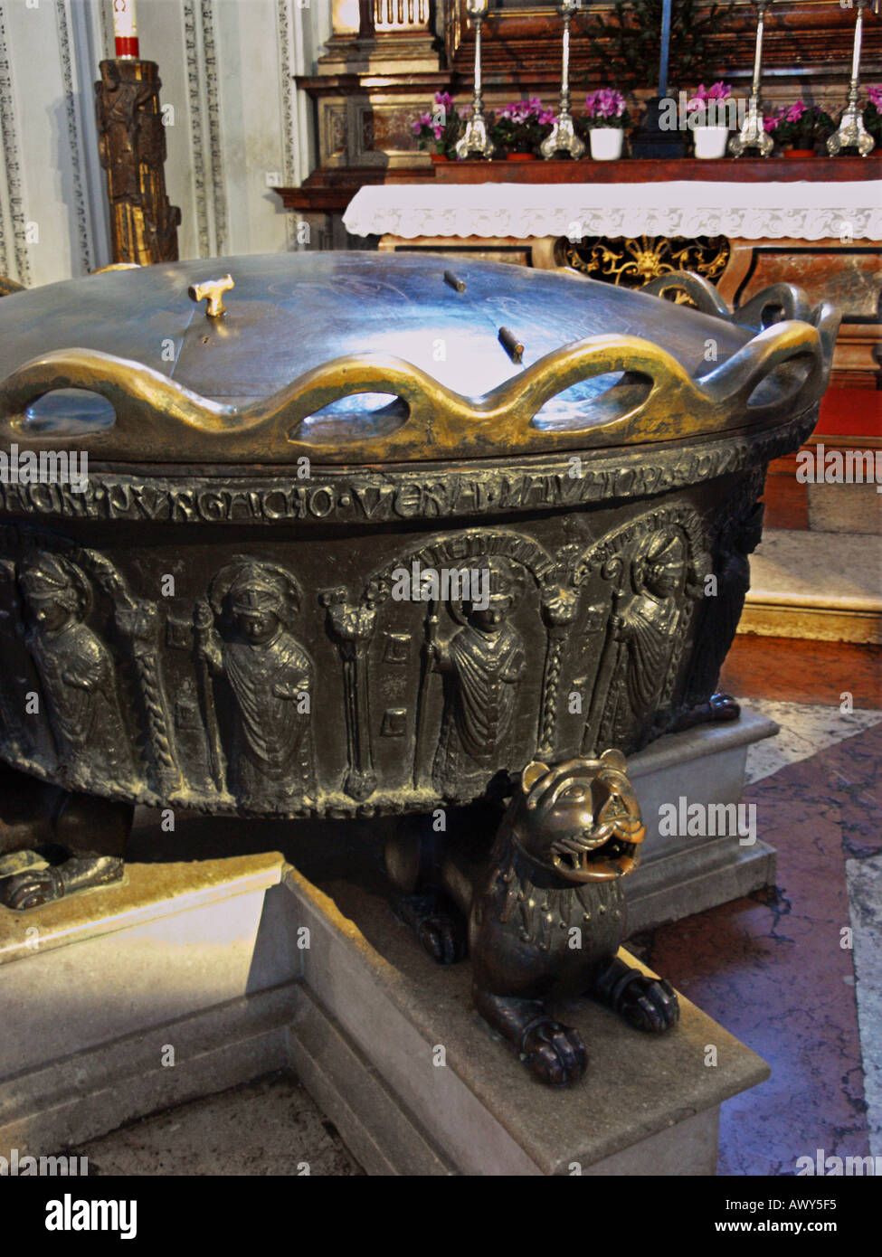 The baptismal font in which Mozart was baptised in Salzburg cathedral, AustriaStock Photo