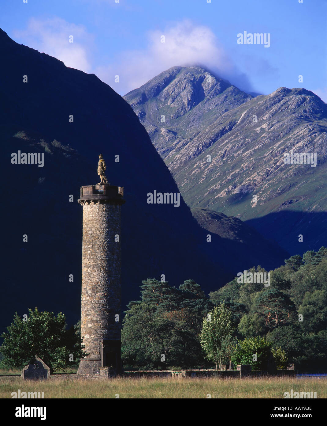 The Glenfinnan Monument, Lochaber, Highland, Scotland, UK - Stock Image
