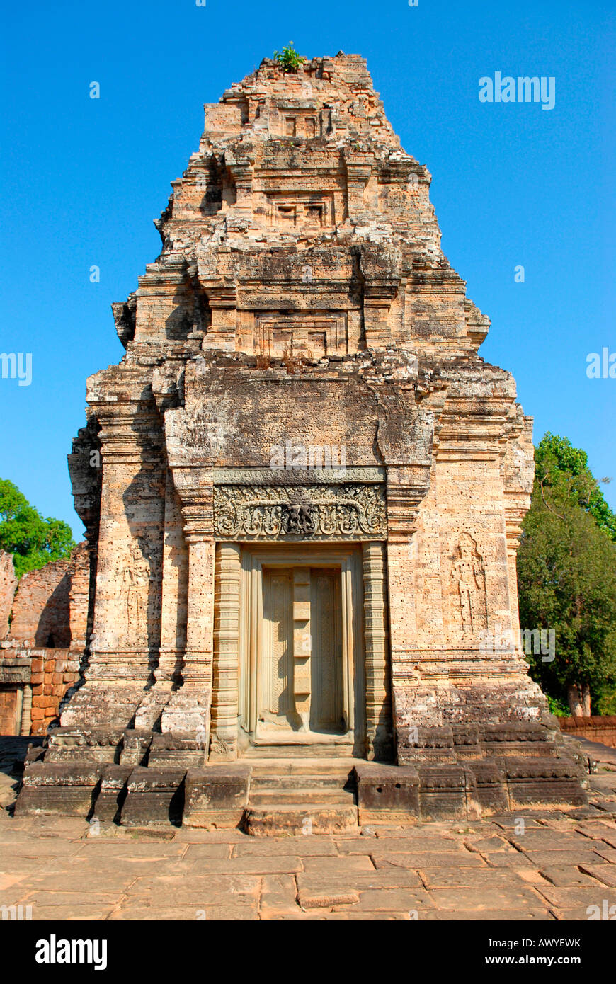 Cambodia , Angkor , Preah Khan Temple , remains of ornate stone edifice building dedicated to Shiva - Stock Image