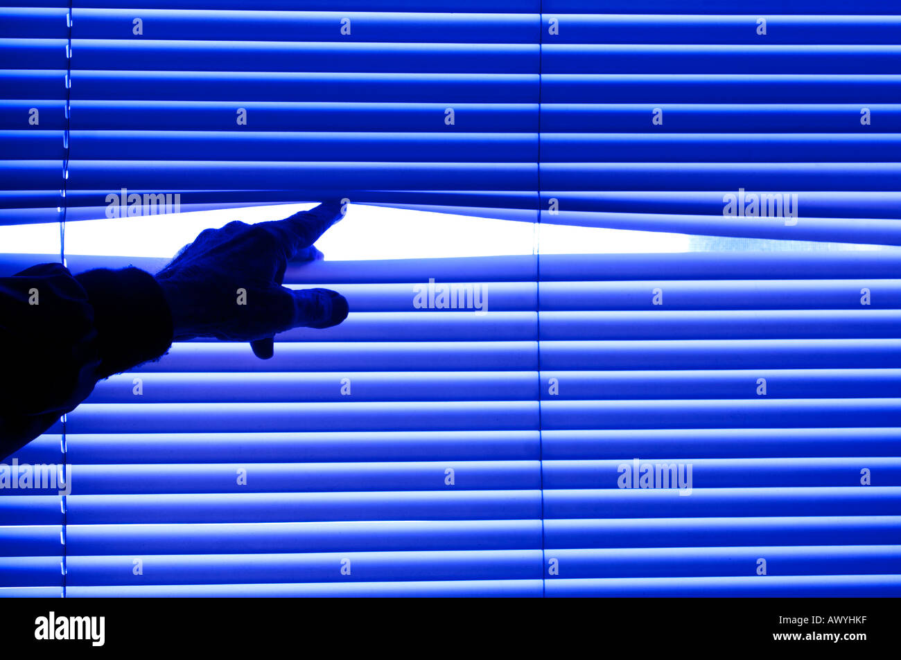 silhouette view of male hand reaching out to spread venetian blinds - Stock Image