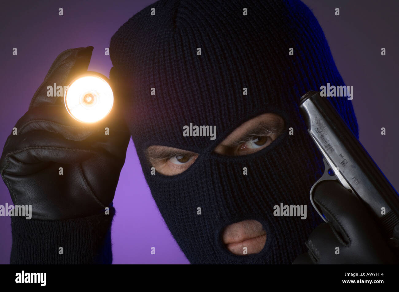 man with flashlight wearing ski mask breaking into bank vault Stock ... 01489580a206