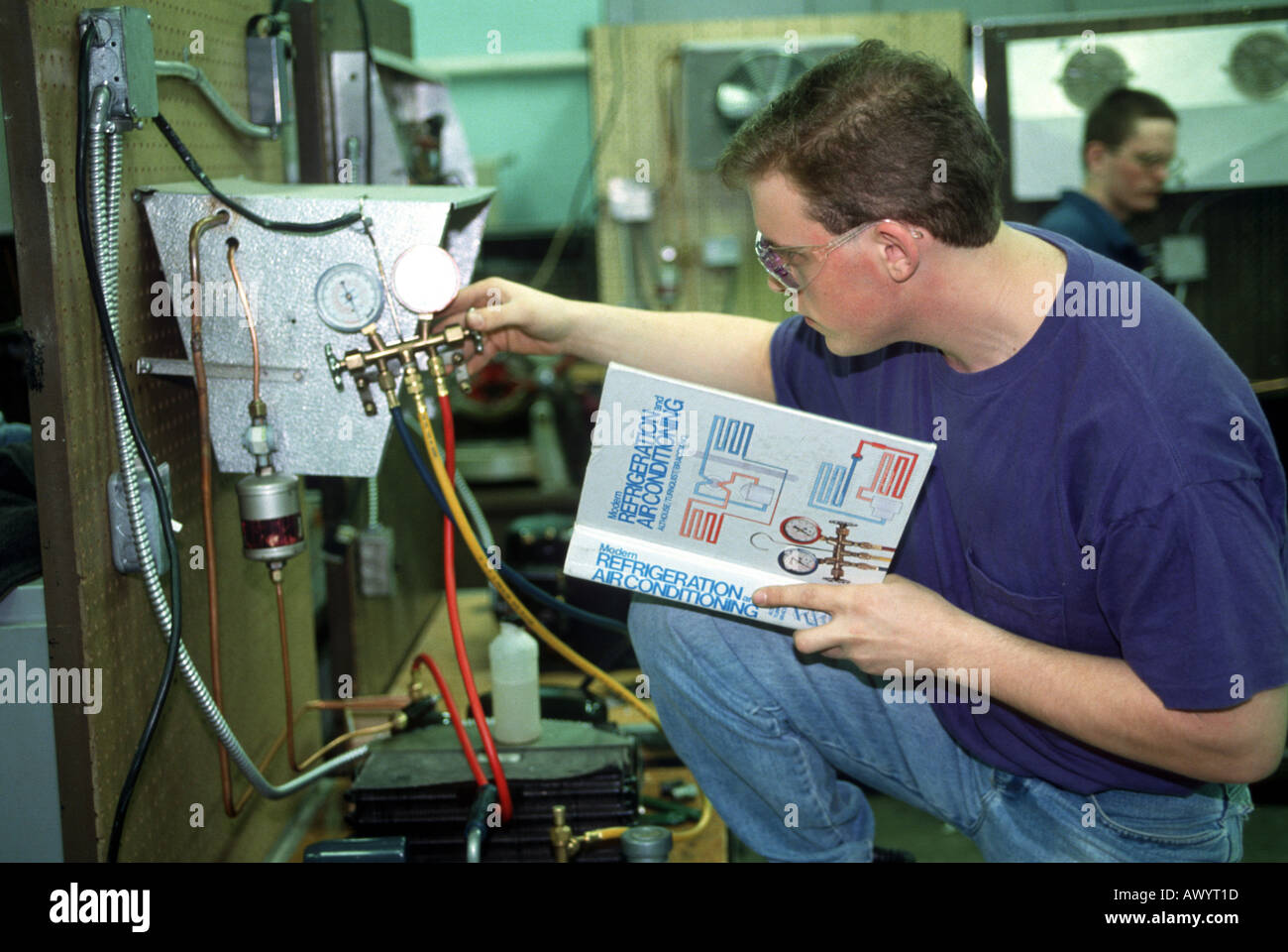 Air Conditioning Service Stock Photos Electrical Engineering In Refrigeration And Male Student Learns Repair Image