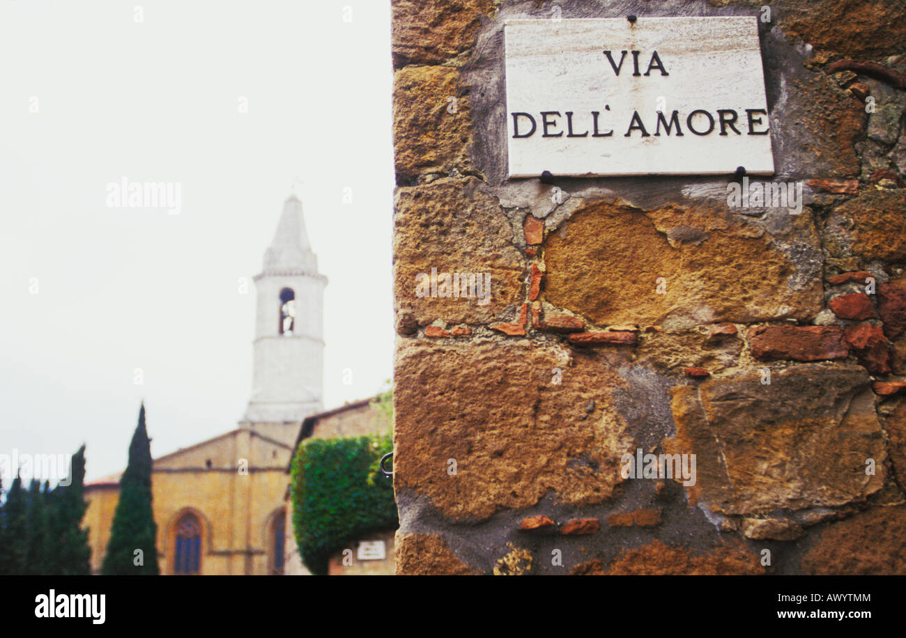 Street Sign in  Pienza in Tuscany Italy - Stock Image