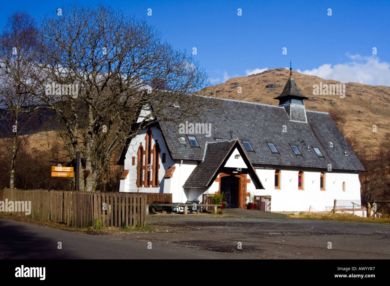 The Inversnaid Bunkhouse for hillwalkers is a converted church on the eastern shore of loch Lomond - Stock Image