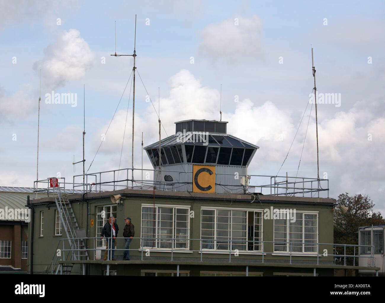 Control tower at Duxford aerodrome UK - Stock Image