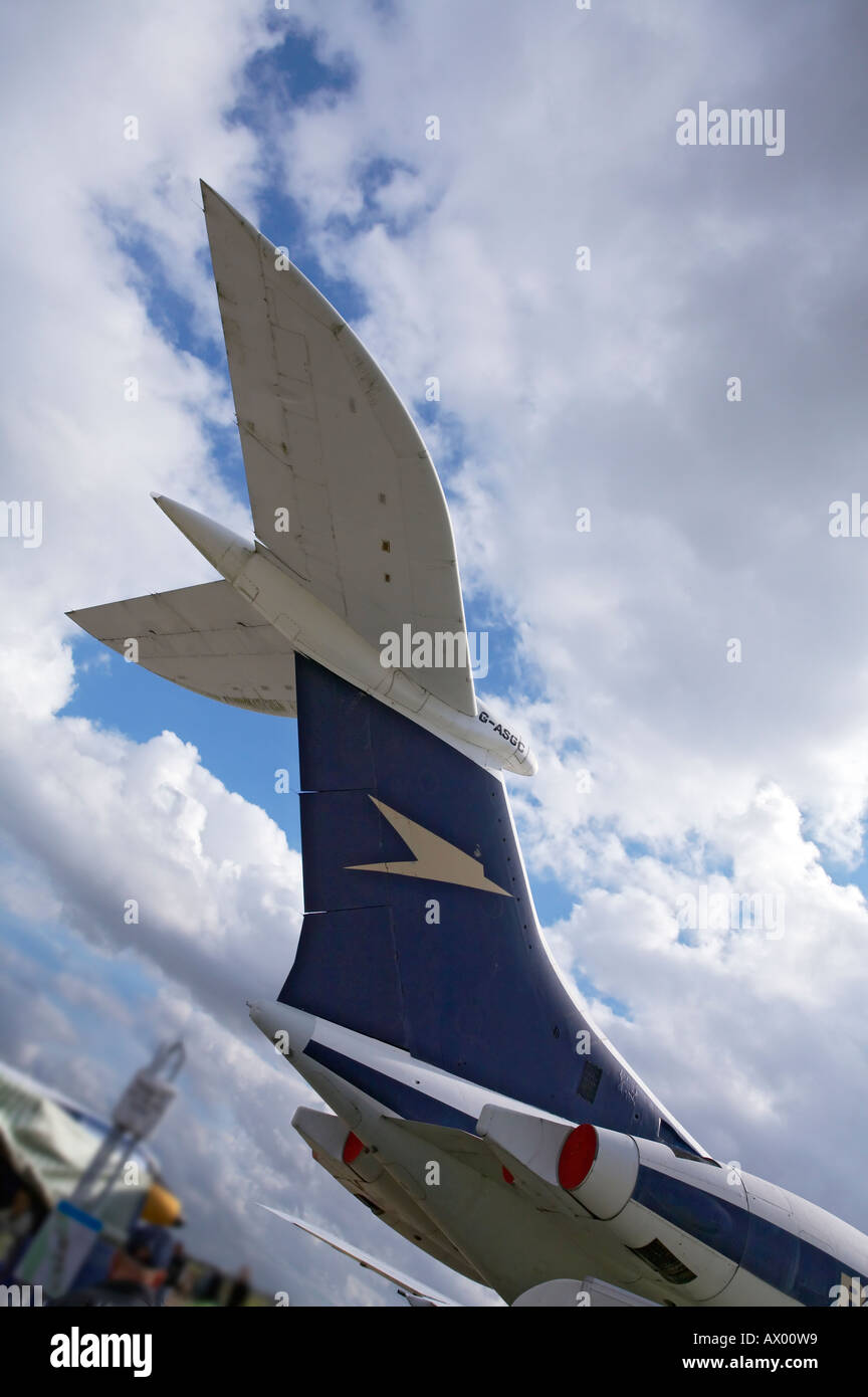 Tailplane of Trident with BOAC livery at Duxford Air Museum - Stock Image