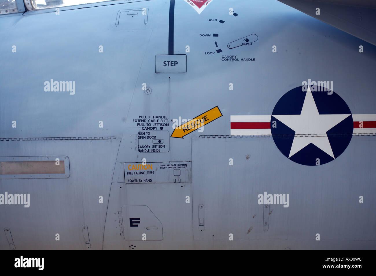 McDonnel Douglas F15 A  Eagle Close up of fuselage - Stock Image