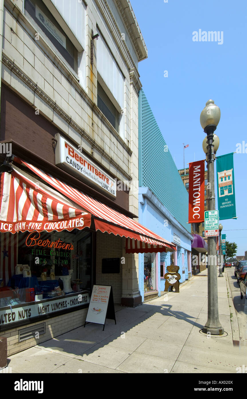 Beernsten's Candies and ice cream parlor in Manitowoc Wisconsin Stock Photo