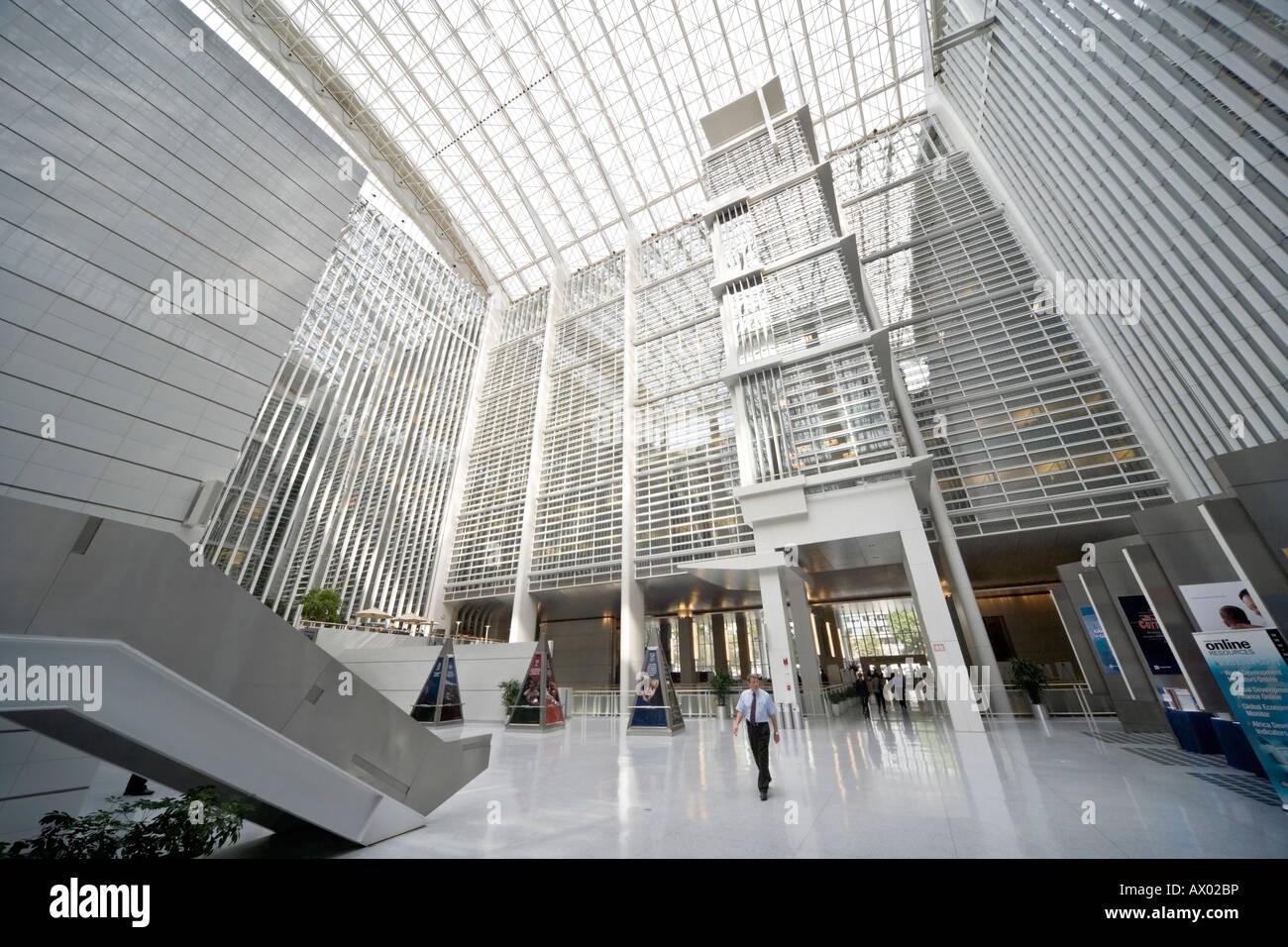 World Bank Group HQ main building atrium interior Washington DC USA - Stock Image