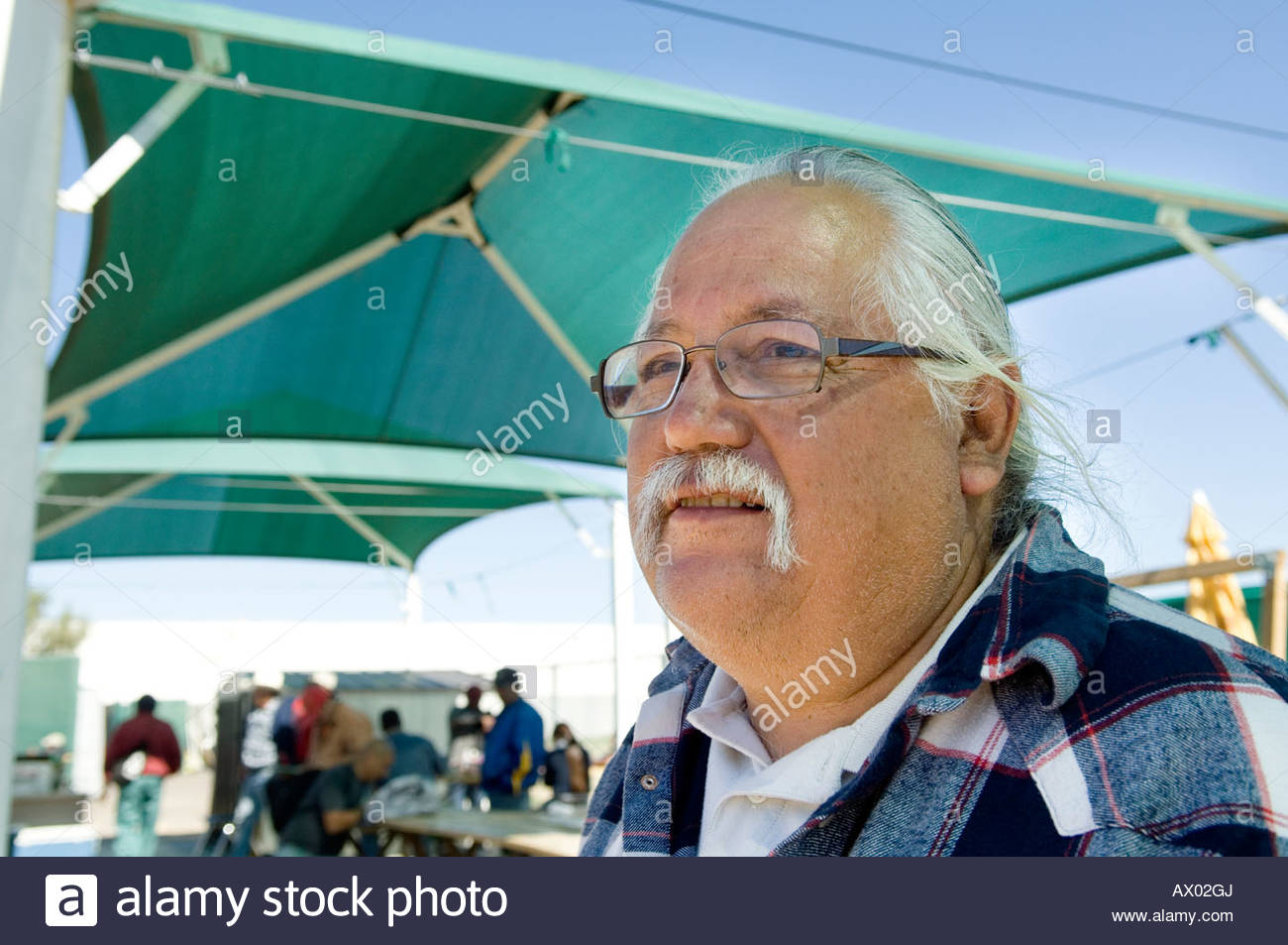 Immigration Activist Salvador Reza at the Macehaulli Work Center in North Phoenix Arizona interview talking about - Stock Image