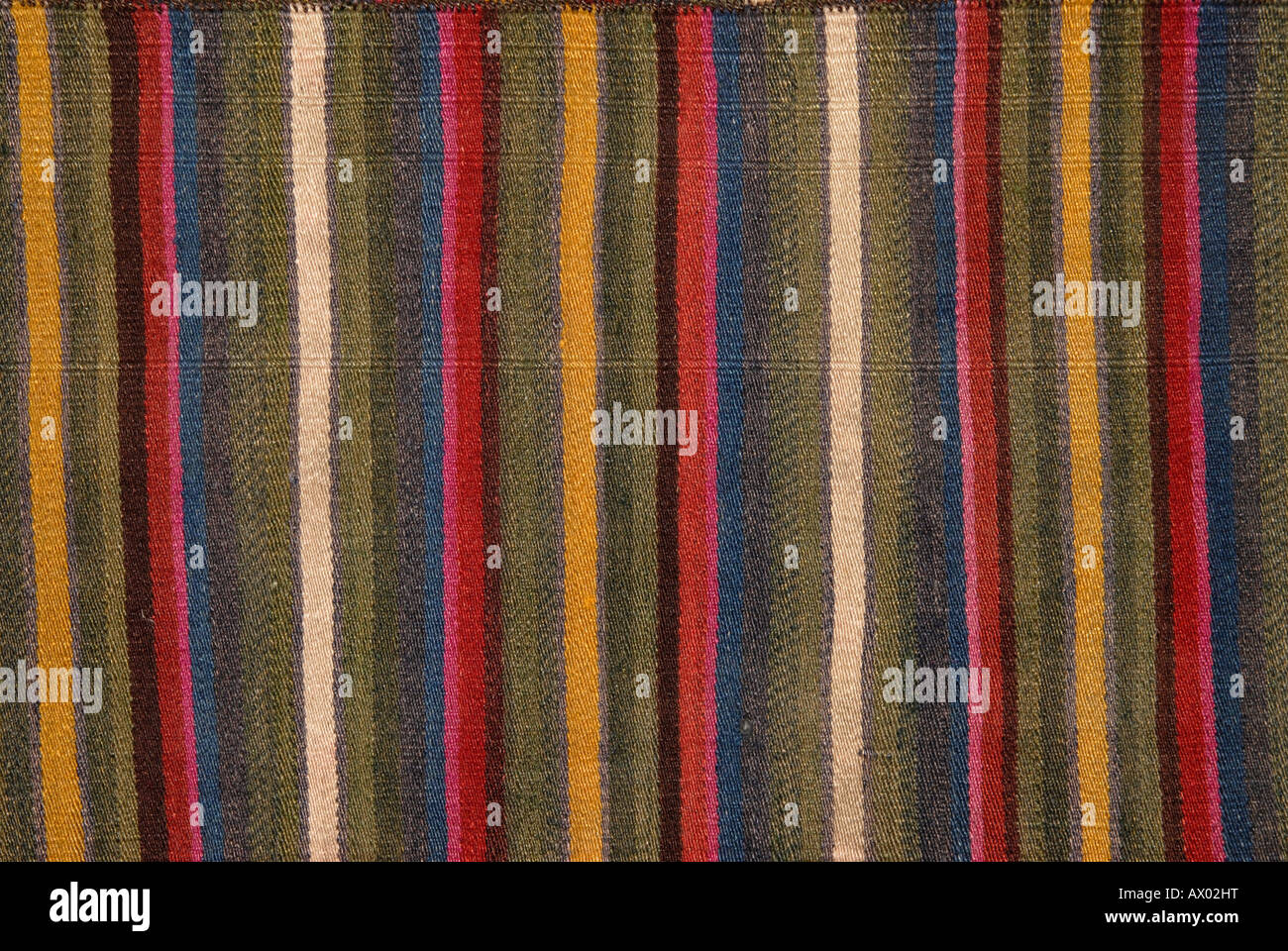 Detail of striped woollen fabric from Tibet. If Used in an editorial or scholarly context, please credit Collection: - Stock Image