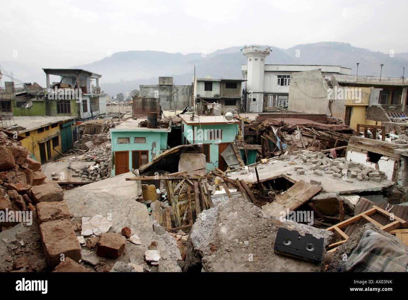 Muzaffarabad devastated by an earthquake, Pakistan - Stock Image