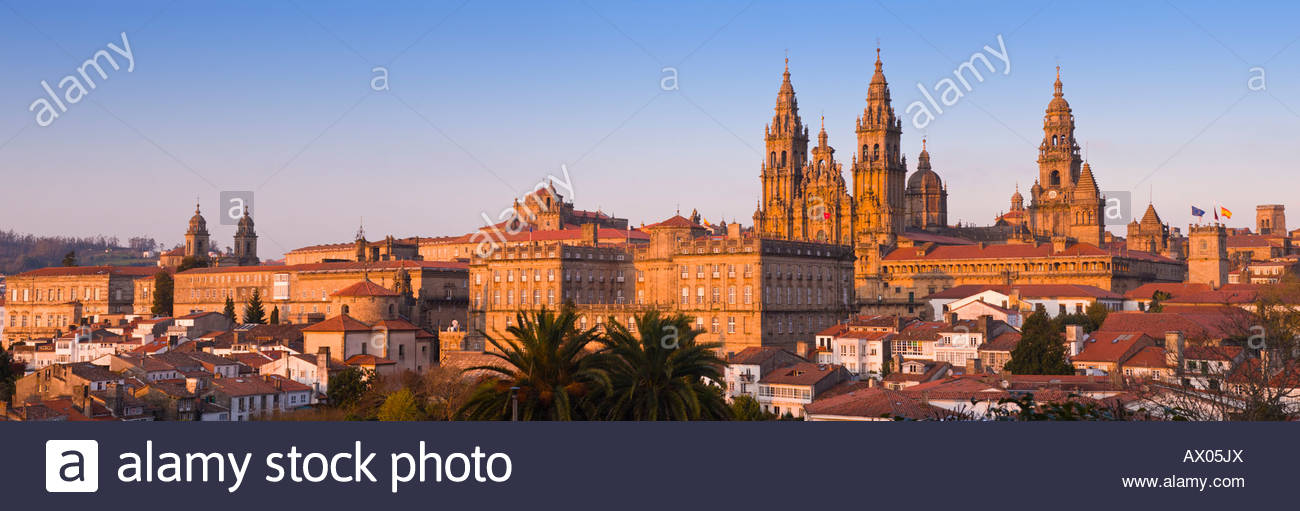 Panoramic view of the cathedral, Santiago De Compostela, Galicia, North West Spain. Stock Photo