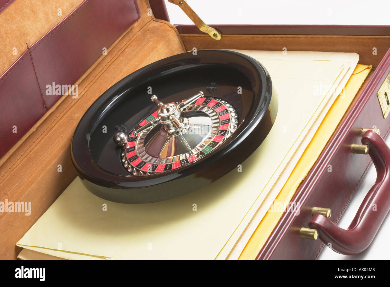 Toy Roulette Wheel in Briefcase - Stock Image