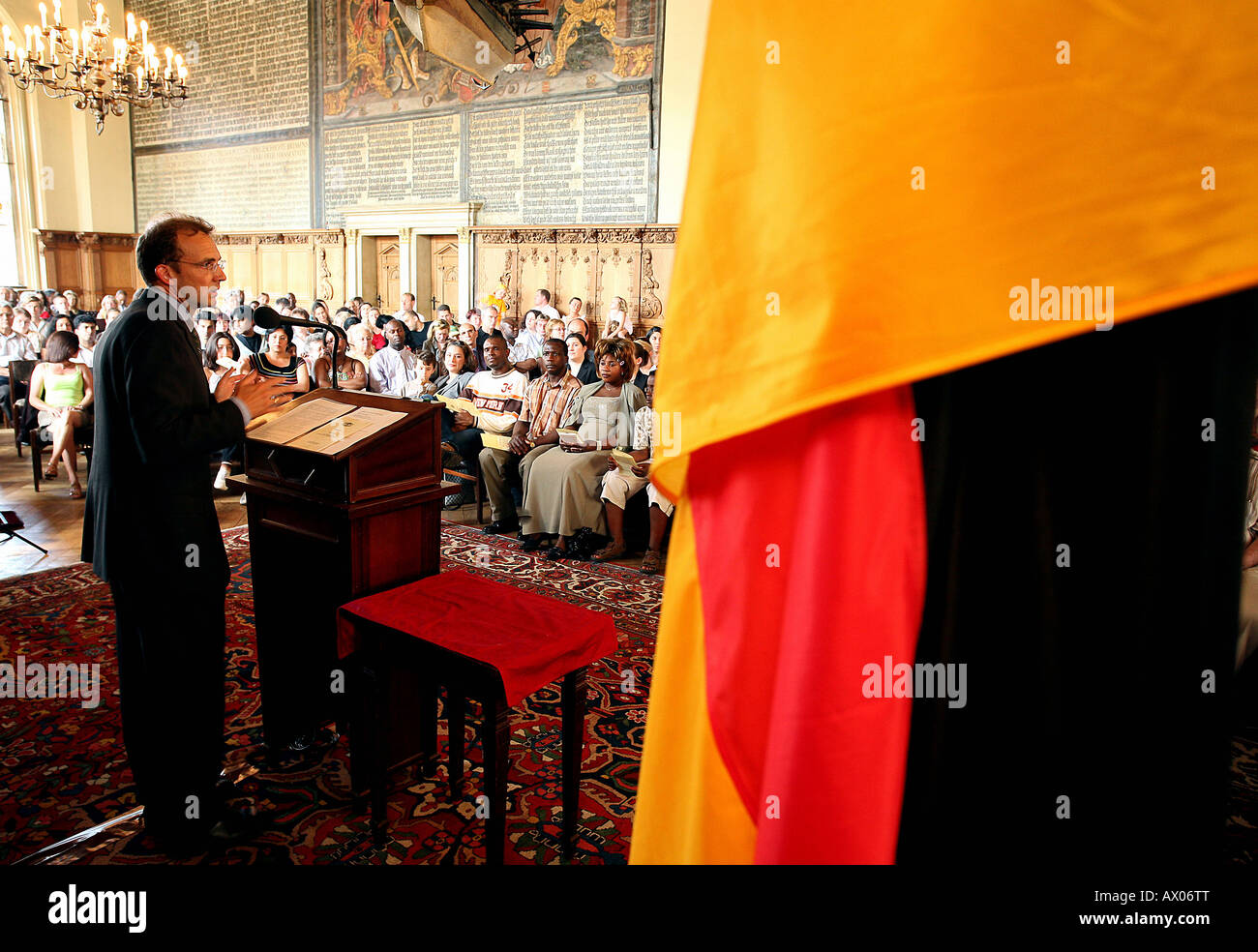 Senator for the interior, Thomas Roewekamp, holding a speech at the city hall in Bremen, Germany - Stock Image