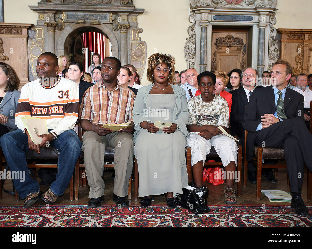 A naturalisation ceremony at the city hall in Bremen, Germany - Stock Image