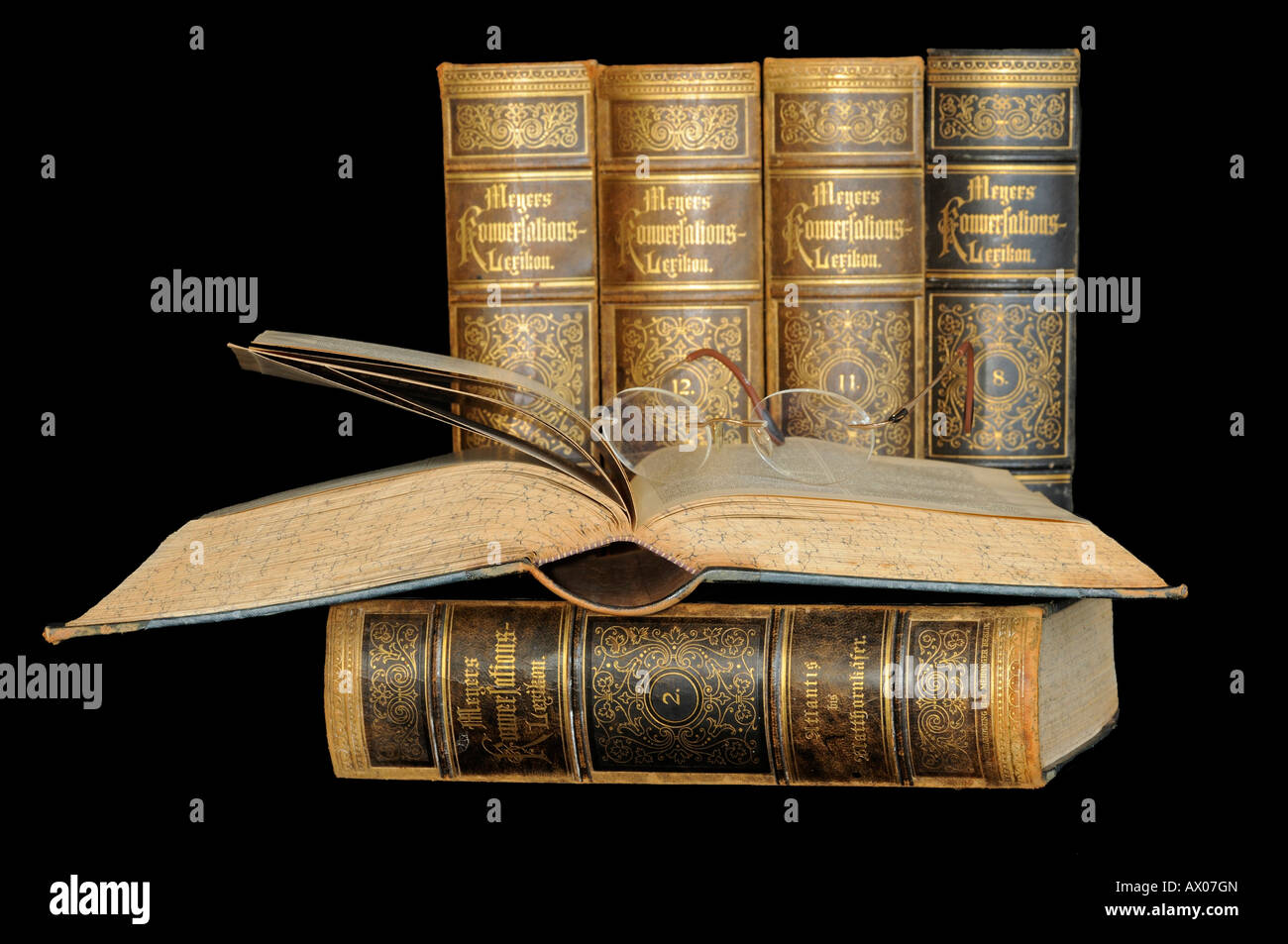 A stack of old Encyclopedia - Stock Image