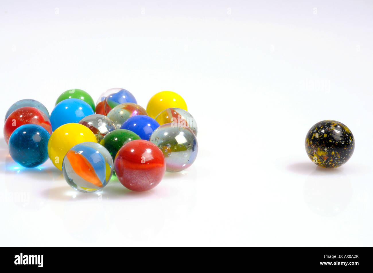 Marbles, one singled out Stock Photo