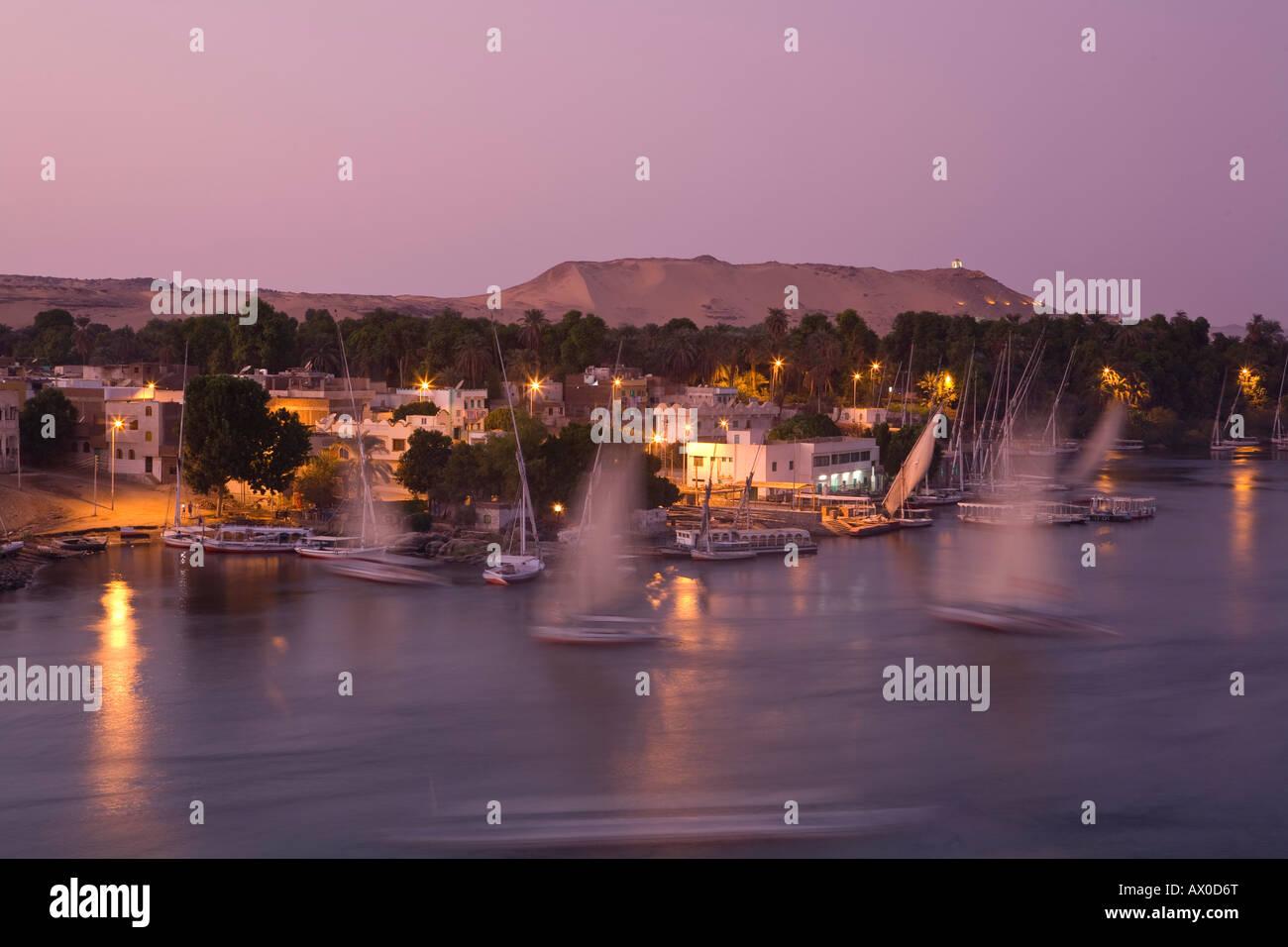 Feluccas on River Nile, Aswan, Egypt Stock Photo