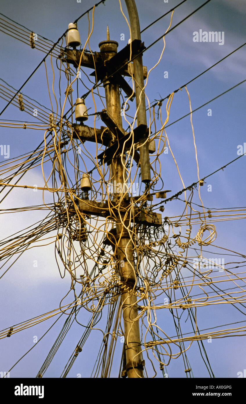 Telephone Lines India Stock Photos Wiring Sky Box Tangled Electrical And Cables In Asia Image