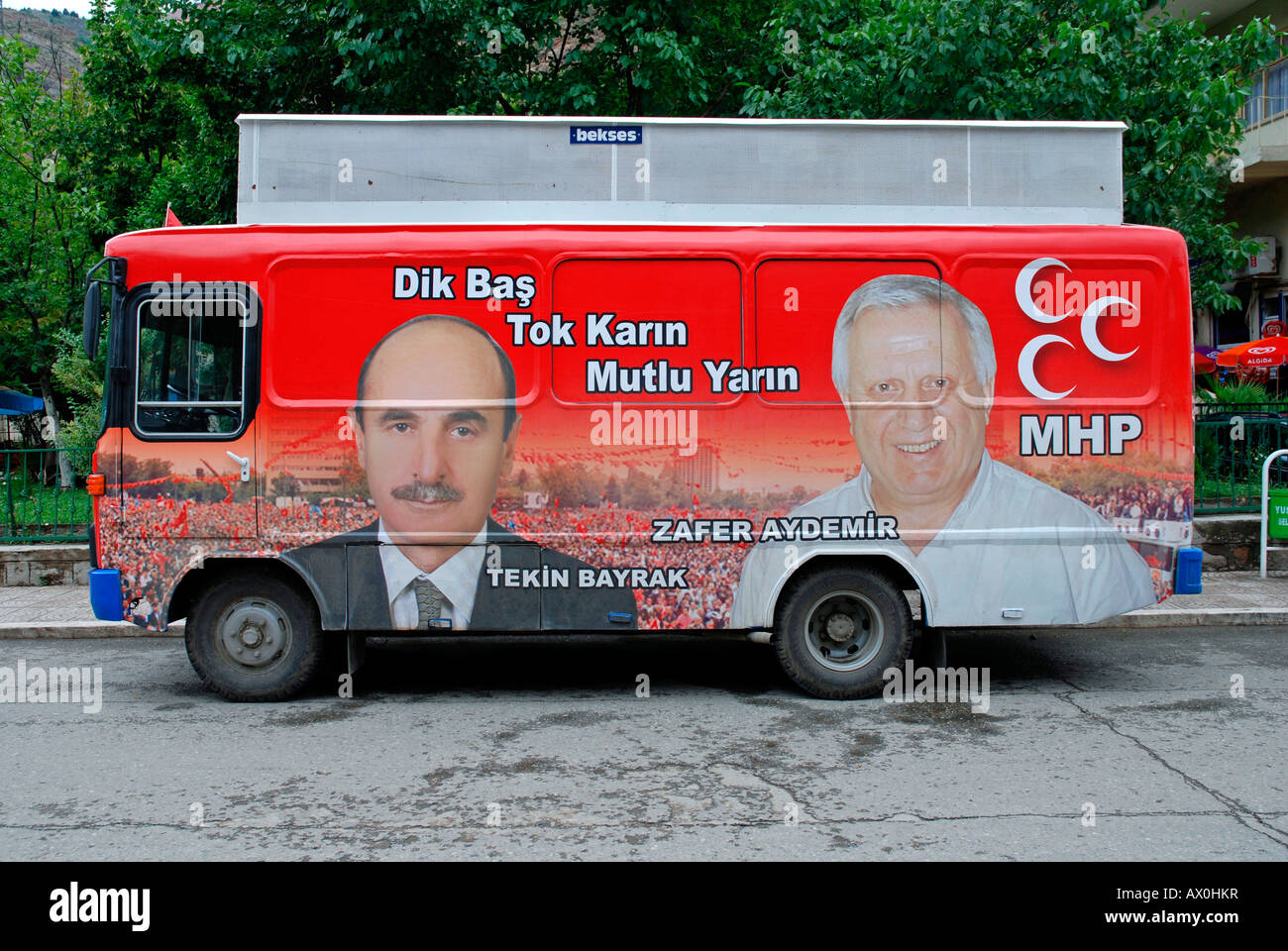 Election advertisements, candidates of the right wing MHP, Urfa, Anatolia, Turkey - Stock Image
