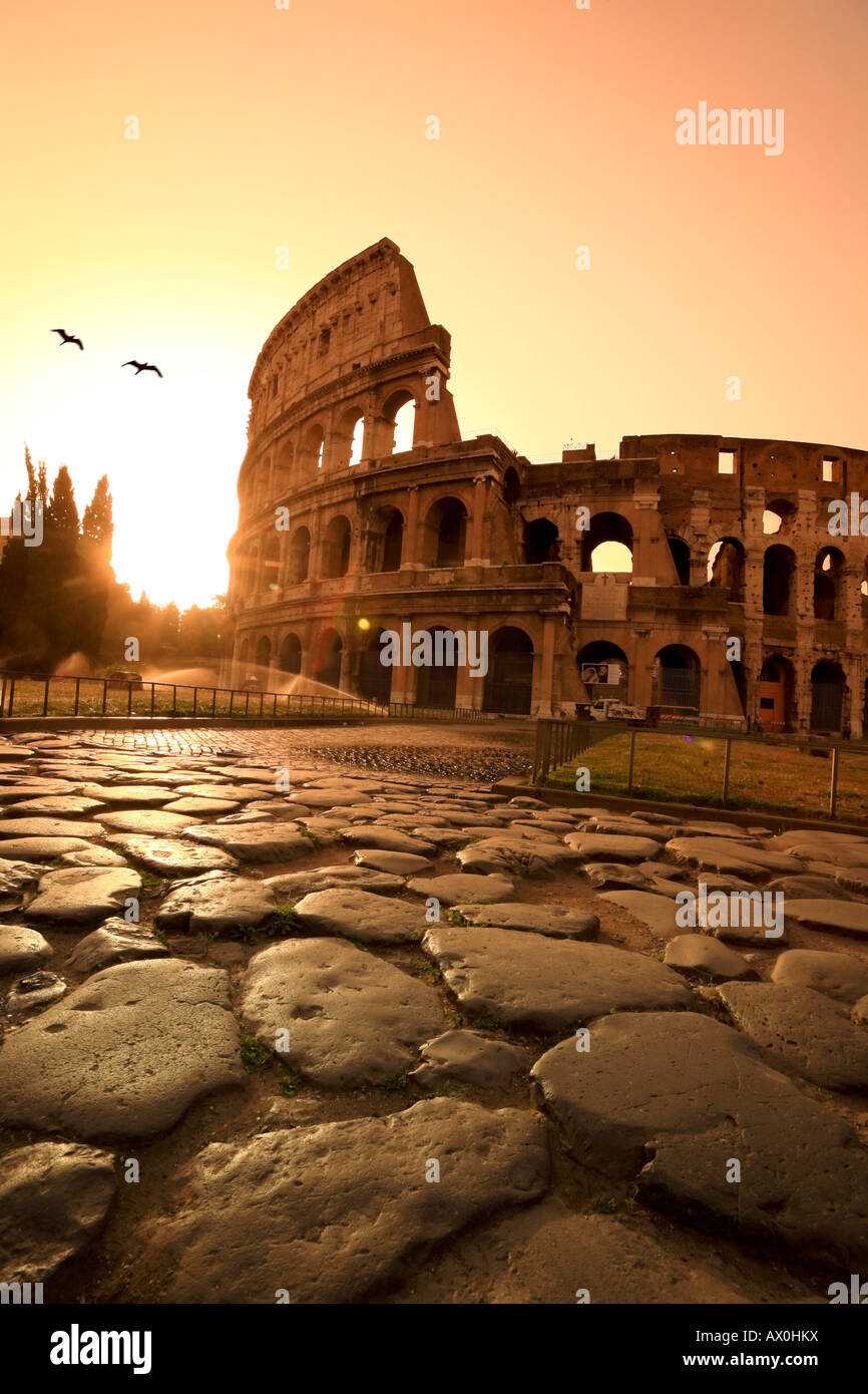 Colosseum and Via Sacra, sunrise, Rome, Italy - Stock Image