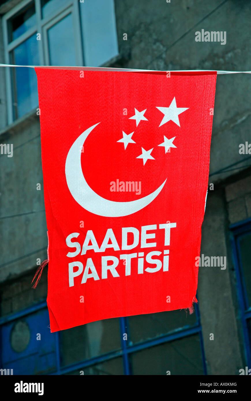 Elections: Islamic-associated Saadet Partisi party flags, Erzurum, eastern Anatolia, Turkey, Asia Stock Photo