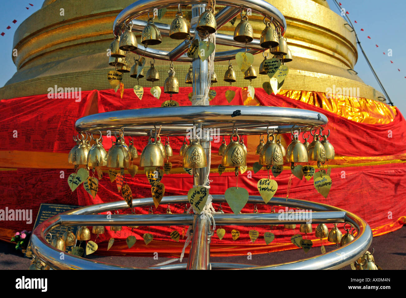 Wishing bells, Golden Mount, Bangkok, Thailand, Southeast Asia, Asia - Stock Image