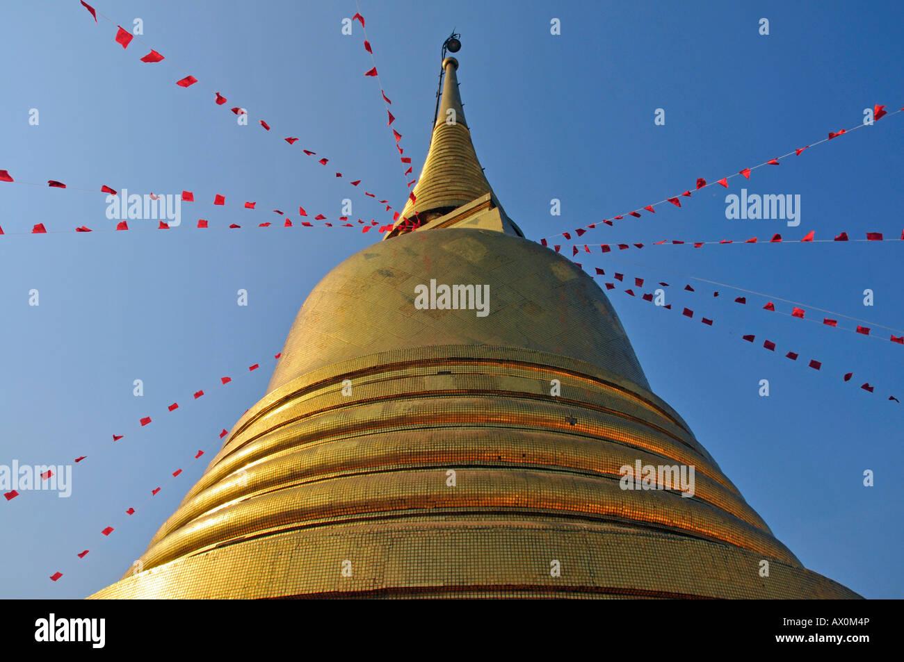 Gilded stupa, Golden Mount, Bangkok, Thailand, Southeast Asia, Asia - Stock Image