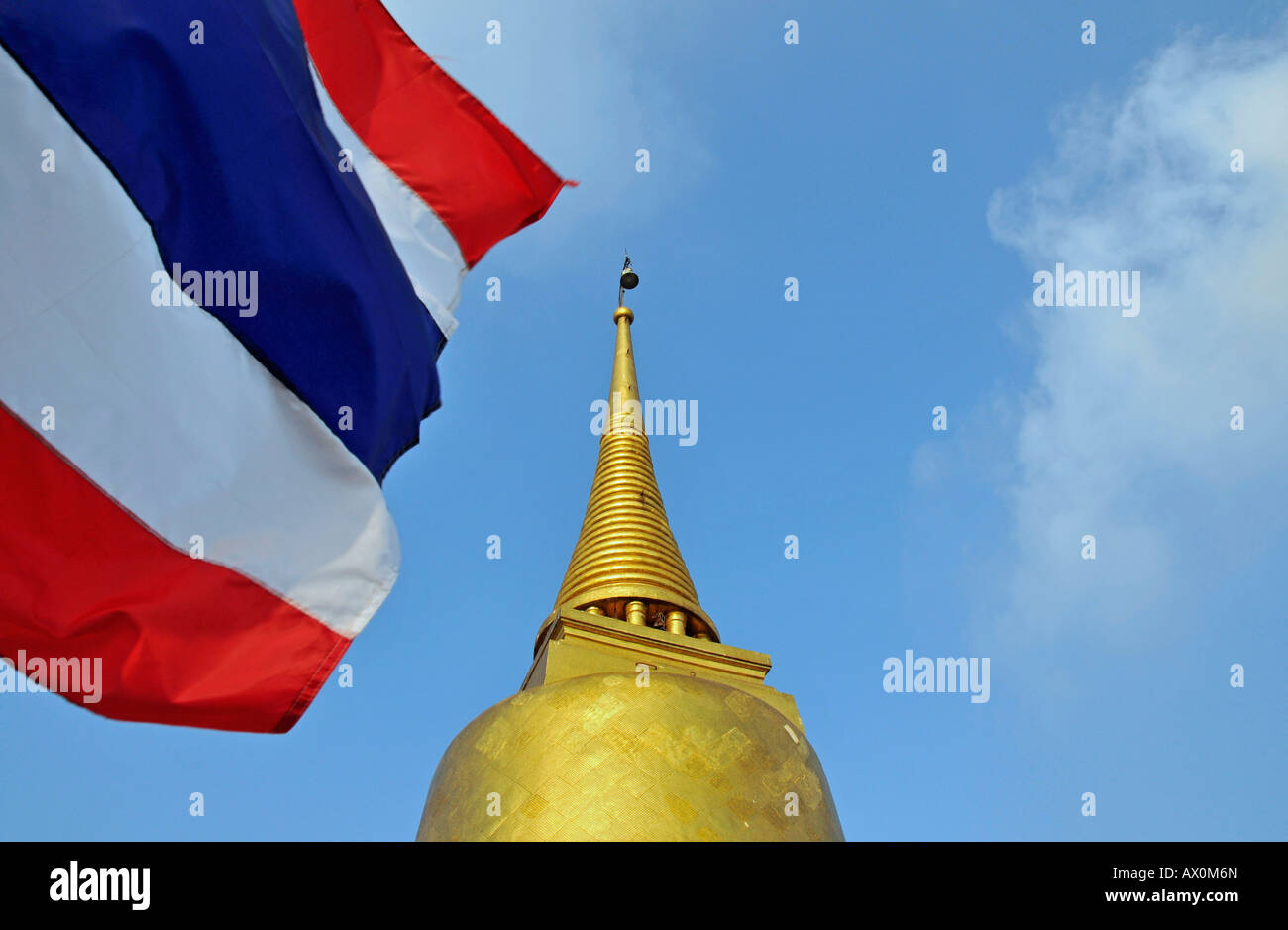 Gilded stupa and Thai flag, Golden Mount, Bangkok, Thailand, Southeast Asia, Asia - Stock Image