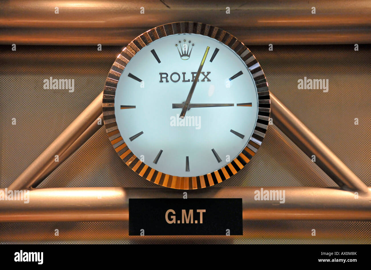 Rolex clock, Sheikh Rashid Terminal, Dubai International Airport, Dubai, United Arab Emirates, Asia Stock Photo