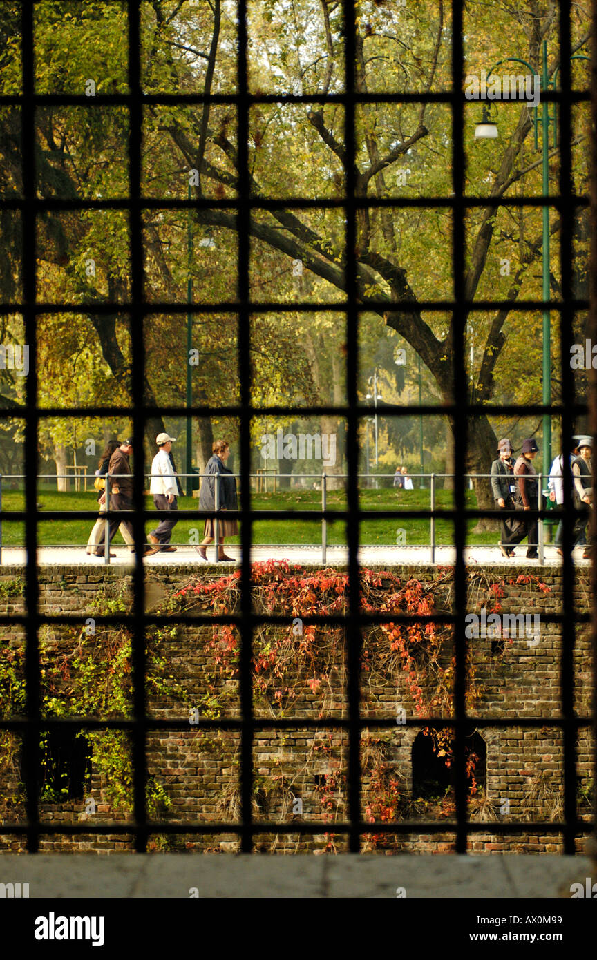 Italy, Milan, Looking out the window, Museum, Castello Sforzesco Stock Photo