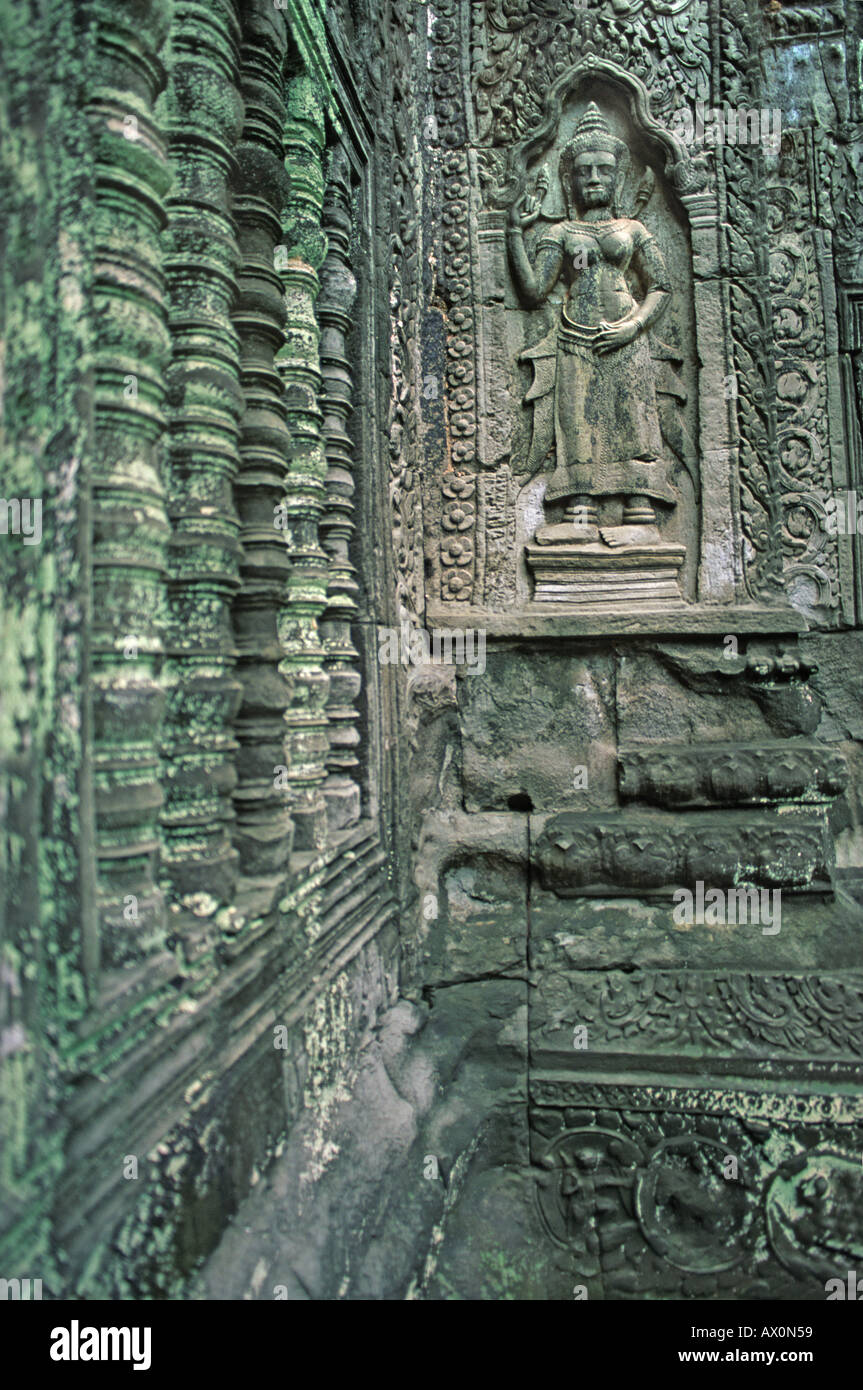 Close up of bas relief on the walls inside the ruins at Ta Prohm Angkor Thom Cambodia - Stock Image