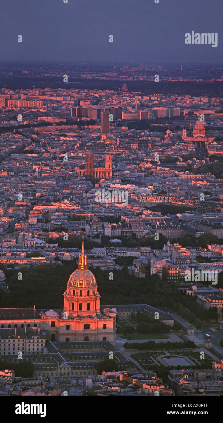 View across rooftops towards the golden dome of the church of Saint Louis des Invalides or the Dome Church Paris FRANCE - Stock Image