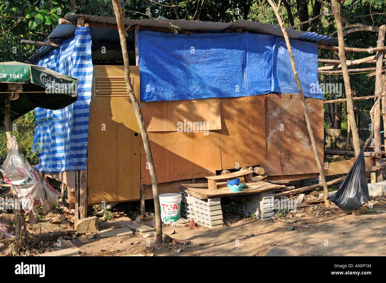 Shack housing migrant workers in Koh Chang, Thailand, Southeast Asia, Asia Stock Photo