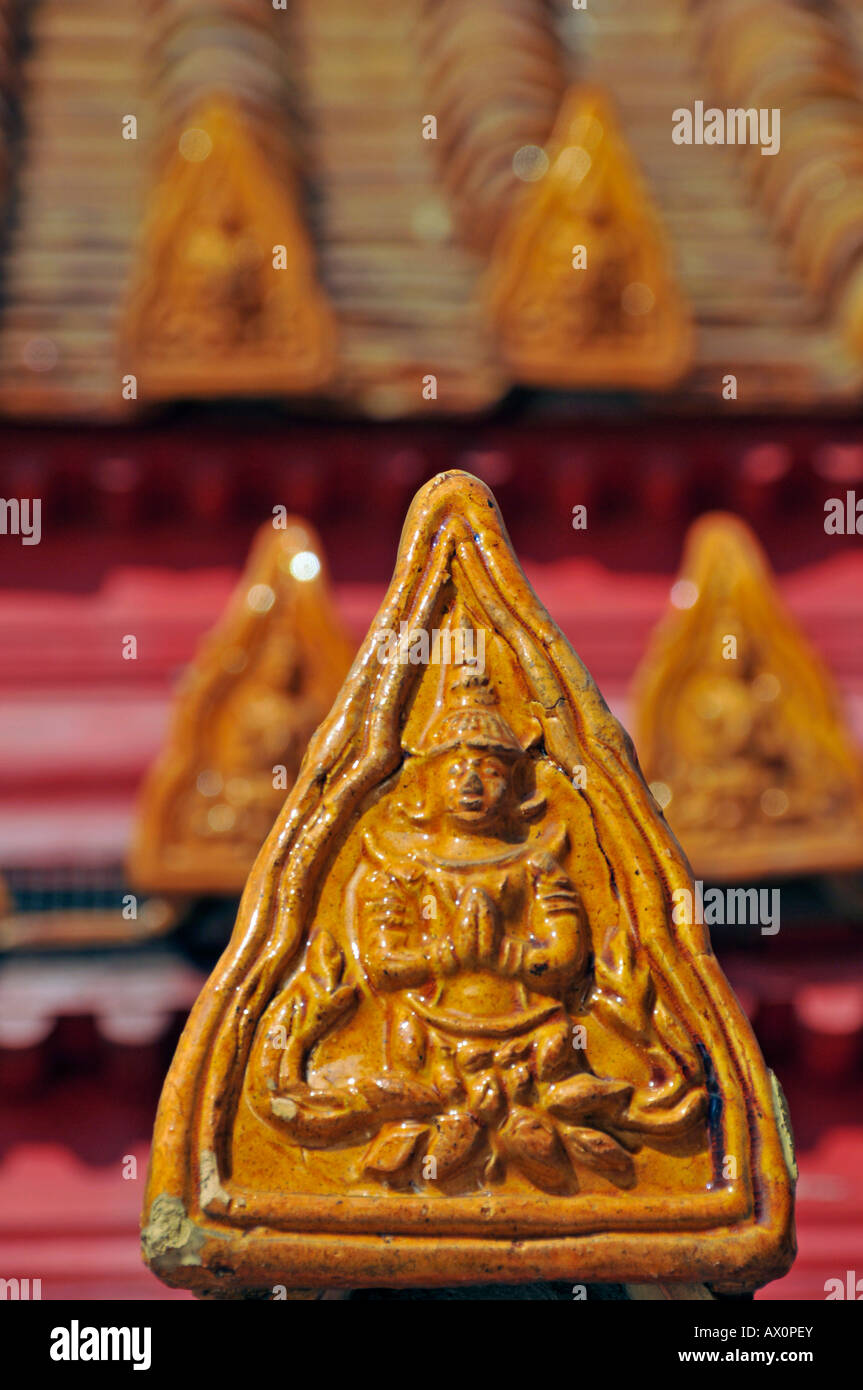 Roof ornamentation, Marble Temple (Wat Benchamabophit), Bangkok, Thailand, Asia Stock Photo