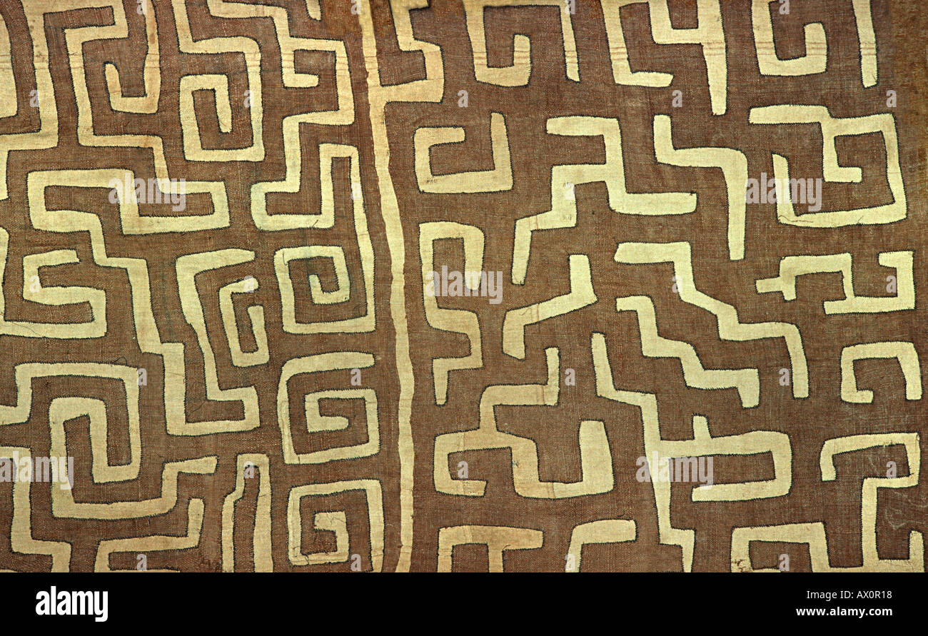 Woven raffia textile from The Democratic Republic of Congo DRC formerly known as Zaire From the Kuba tribe - Stock Image