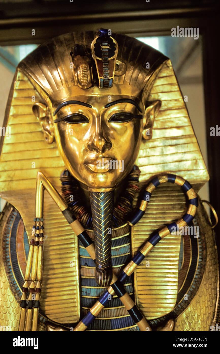 Goldmask of Tutenchamun, museum Cairo, Egypt - Stock Image
