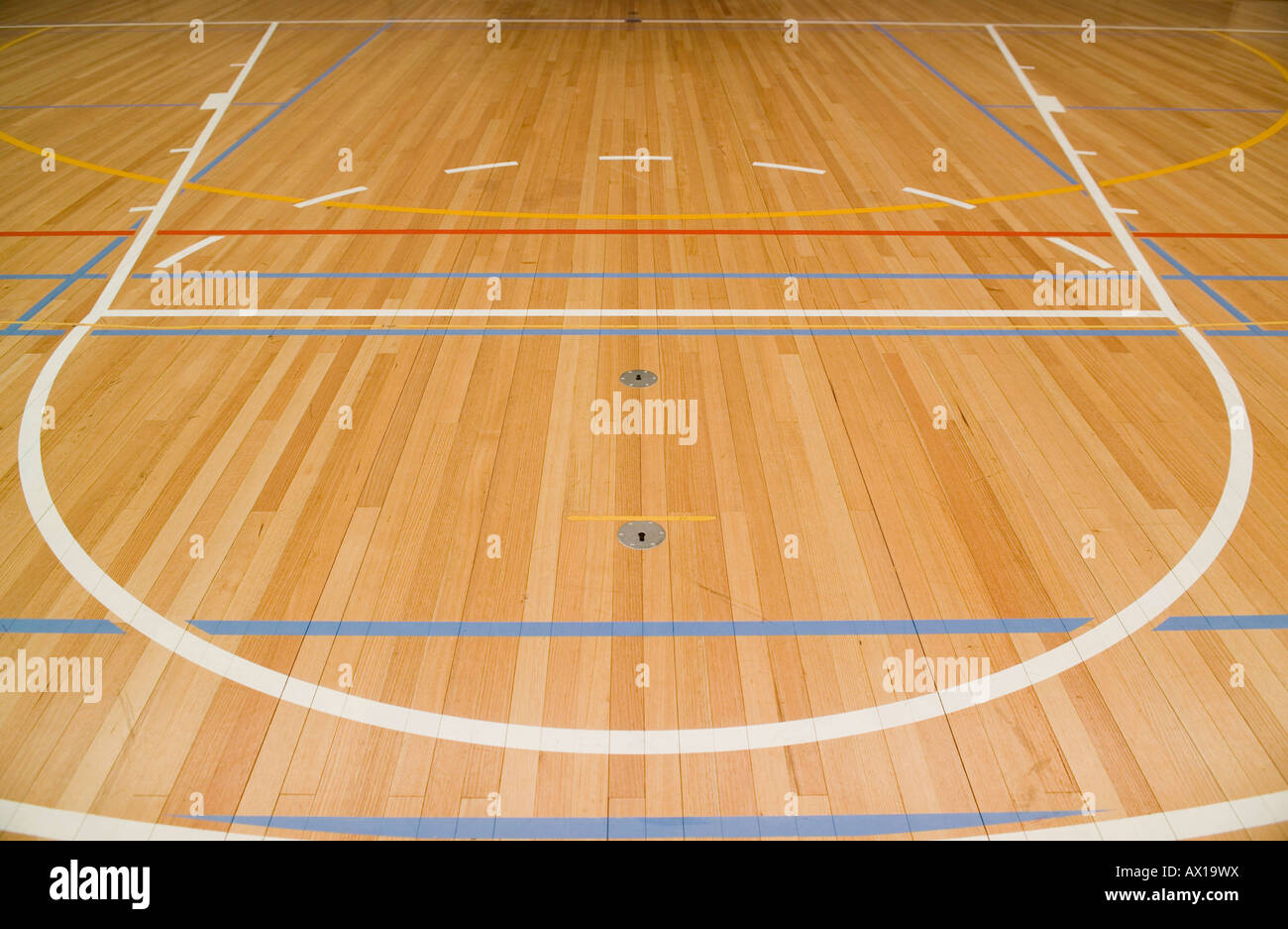 Close Up Of An Empty Indoor Basketball Court Stock Photo Alamy