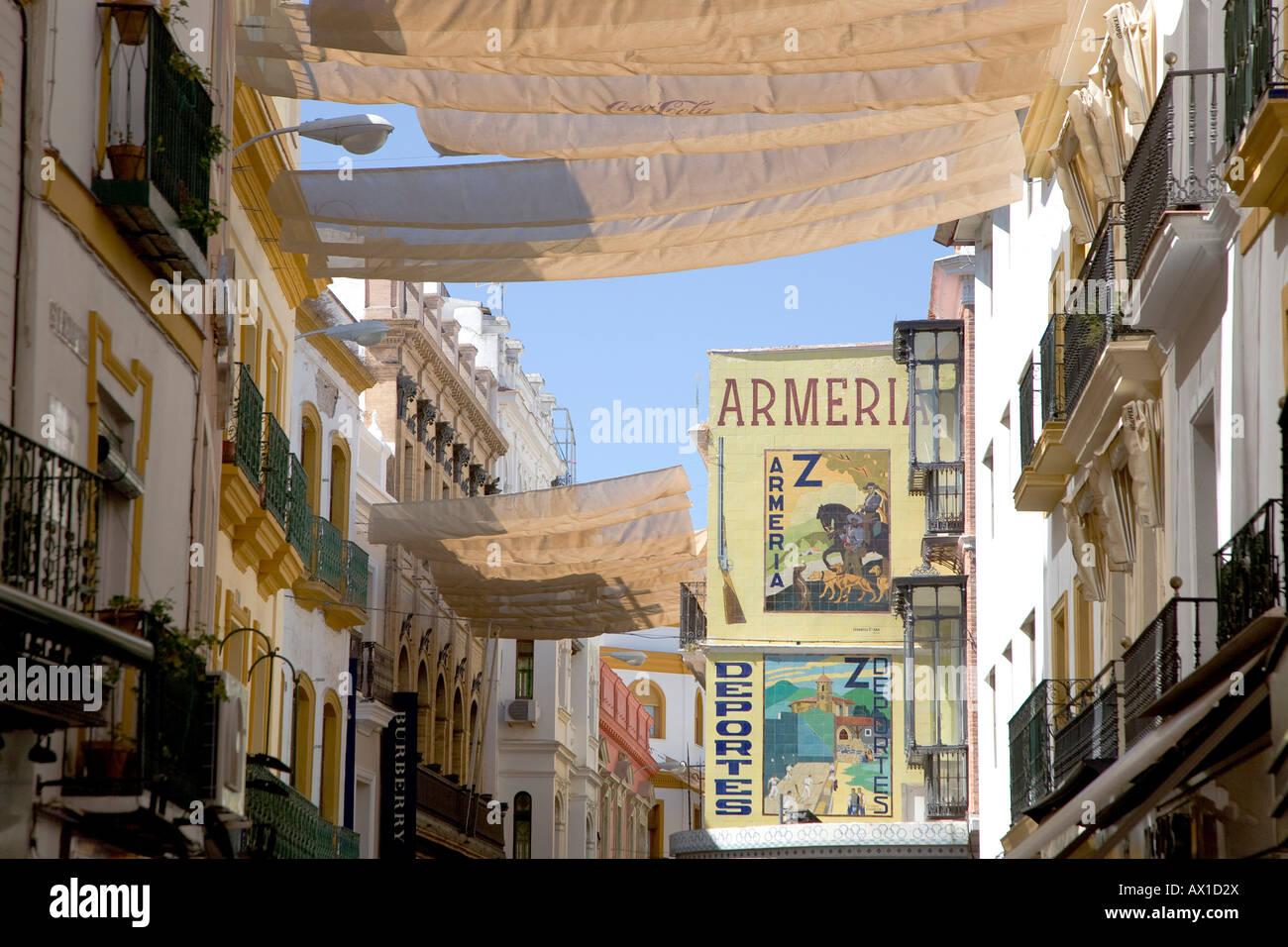 Calle Siepres, pedestrian area, shopping street, sun sail, tile ...
