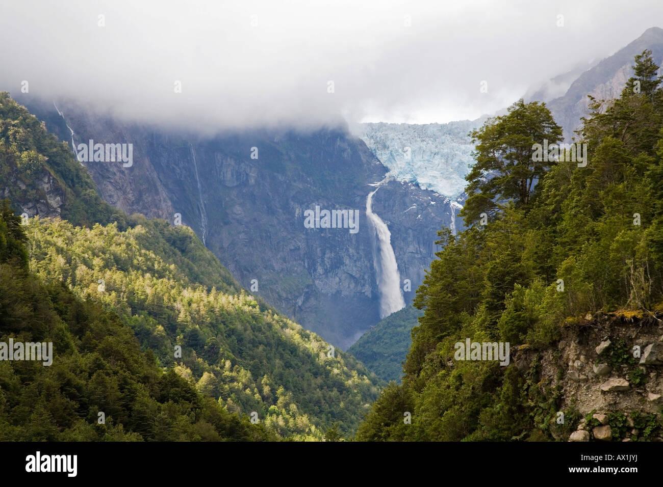Glacier Ventisquero Colgante, Park Queulat, Carretera Austral, Patagonia, Chile, South America - Stock Image