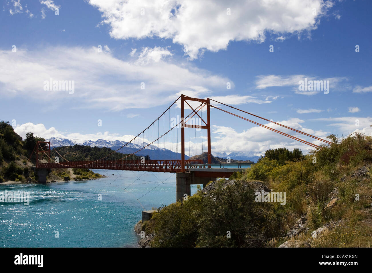 Bridge Punte Gral, Lago General Carrera, Patagonia, Chile, South America Stock Photo