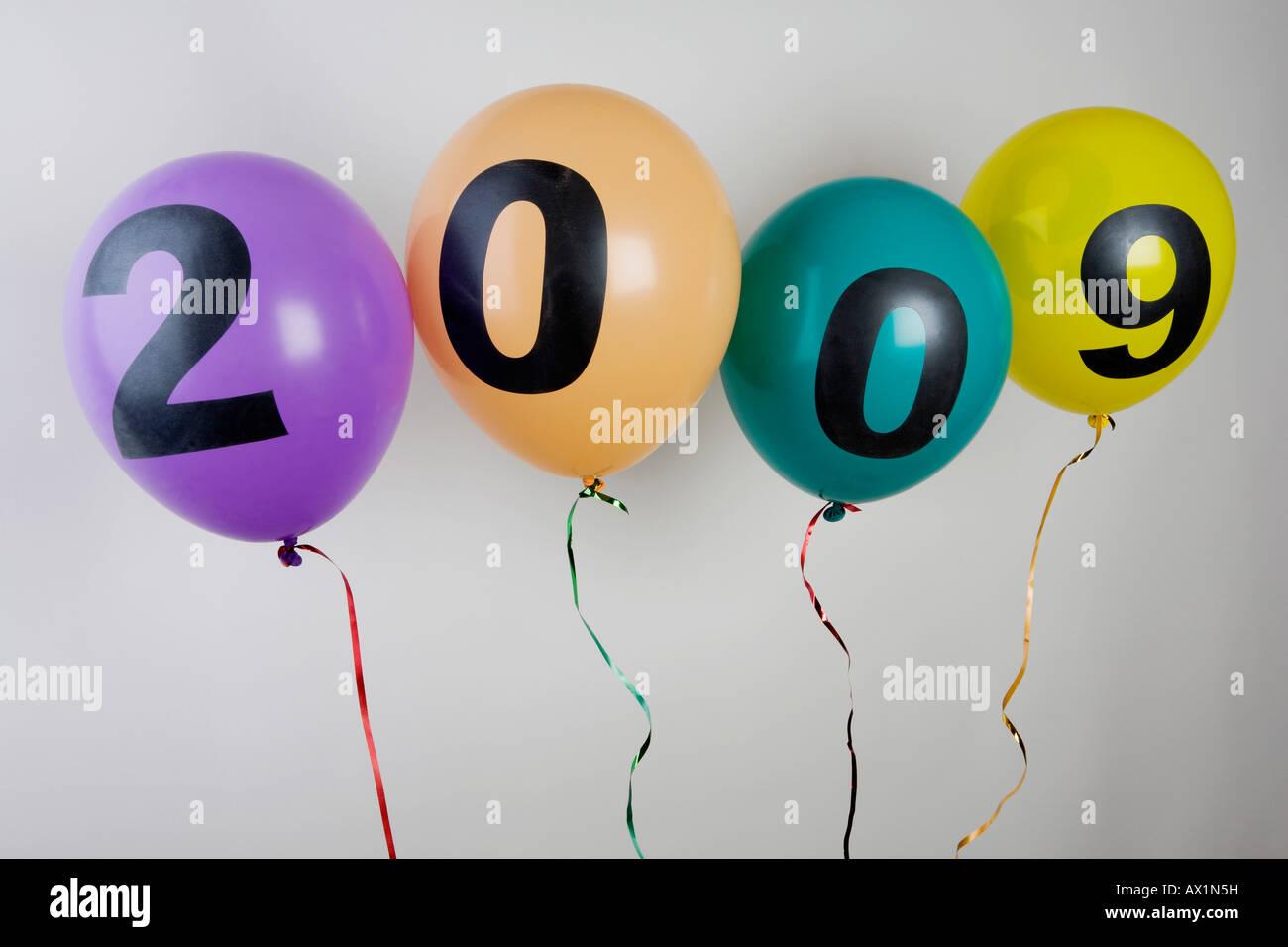 Balloons celebrating 2009 - Stock Image