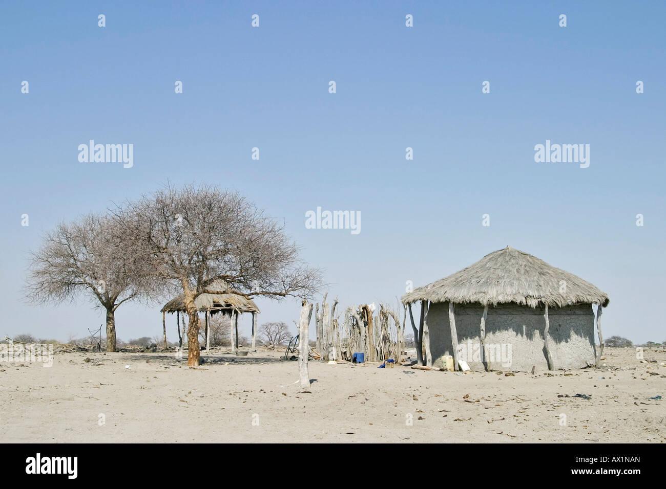 African hut at the Sowa Pan, Makgadikgadi pans, Botswana, Africa - Stock Image