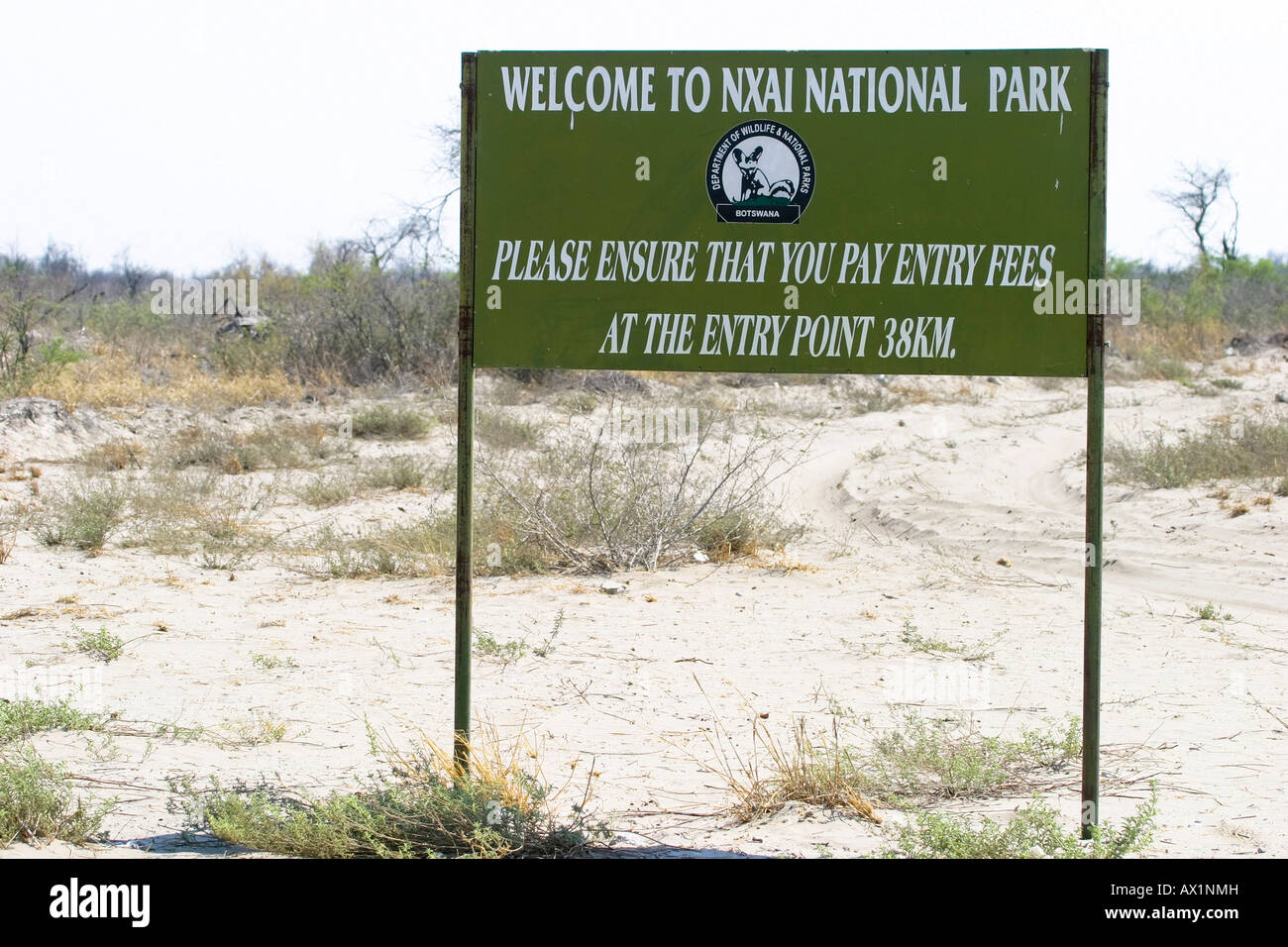 Signpost to the Nxai Pan, Makgadikgadi Pans National Park, Botswana, Africa Stock Photo