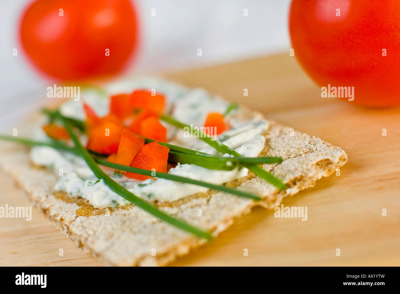 Crispbread with cream cheese Stock Photo